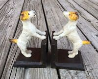 Fox Terrier Dog (Yellow Ear/Tail) Cast Iron Pair of Vintage-Style Heavy Bookends
