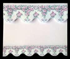PRETTY PINK / WHITE FLORAL  BLIND / CURTAIN / DRAPE FOR DOLLS HOUSE