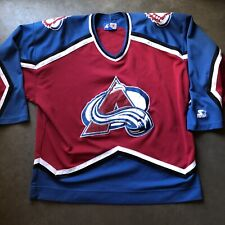 Mens Vintage 90s Starter Colorado Avalanche Maroon Red  Blue White Jersey Sz 2XL