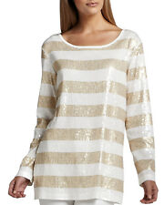 Joan Vass Gold & Ivory Sequin Stripe Knit Top Size 3P (16P)  New w Tag