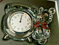 "Swarovski Figurine Crystal Chris Bear Table Clock 2 1/2"" Tall NIB"