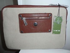 "KNOMO Beige Linen & Cognac Leather 11"" Laptop Sleeve *BNWT*"
