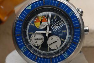 VINTAGE 1960's AQUADIVE CARIBBEAN BREVET JENNY 1000 DEEP SEA DIVER CHRONOGRAPH