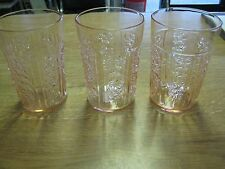 Set of 3 Federal Glass Company Pink Rose of Sharon Thin Water Tumblers c.1935