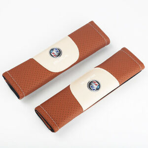 2Pcs Brown Color Car Seat Belt Shoulder Cushion Cover Pad Fit For Buick Auto