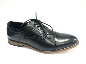 Stacy Adams, Dickinson, Black Leather Cap Toe Oxford Shoes, Youth Boys Size 6.5M