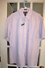 Saddlebred Men's S/S Casual Shirt Pink W/Blue Stripes Size Xl New Nwt