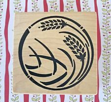 Art Deco Circle With Wheat Wood Mount Rubber Stamp Wreath Silhouette Agriculture