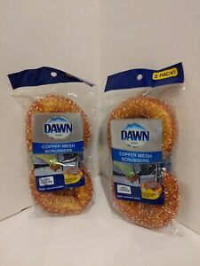 2- 2Pk Pack Dawn 100% Copper Mesh Scrubbers with Sponge Inside NEW Free shipping