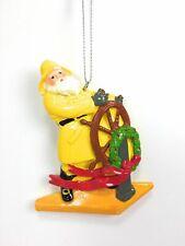 Cannon Falls Santa Sea Captain On Boat In Yellow Slicker w Wreath Ornament Nwt