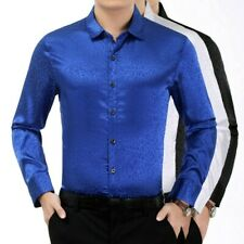 Men Satin Leopard Print Shirts Faux Silk Blouse Casual Tops Formal Business