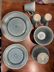 19 Piece Jars France Williams Sonoma Blue Made in France Bowls Plates Mugs Nice!