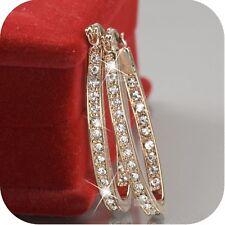 Women's 9K Gold Filled Silver CZ Crystal Big Hoop Huggie Earrings Wedding Eer