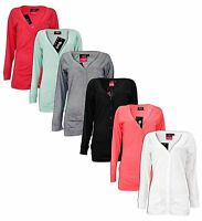 New Ladies Boyfriend Button Cardigan Long Sleeve Pockets Jumper Women Casual Top