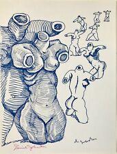 1980s Daniel Johnston Untitled Blue Torsos Archive Color Art Print ~ NEW!