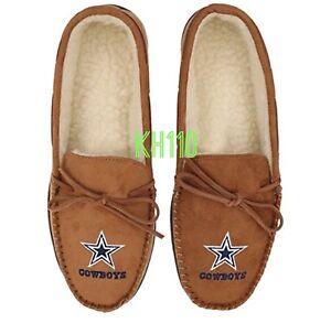 NFL Dallas Cowboys Tan Moccasin Hard Rubber Sole Men's Slippers