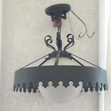 Vintage 60s Cast Iron Green Chandelier Chain Hanging Light Complete with Globe