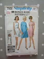 1968 Simplicity Sewing Pattern Dress 7506 Bust 38 Size 16
