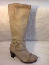 Jana Fashion Beige Knee High Leather Boots Size 3.5