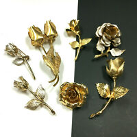 Vintage High End ROSE FLOWER Brooch Pin LOT Quality Silver & Gold ROSES HH97N