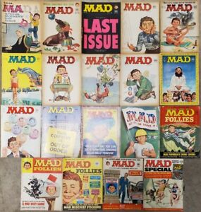 Lot of 19 Vintage MAD Paperback Magazines 1960s-1970s