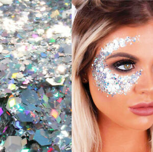 GLITTER SHAPE Star Diamond Face Body Sequin Large Makeup CHUNKY Holographic Holo