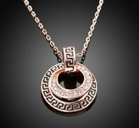 "Double Disc Greek Key Necklace with Swarovski Crystals 18"" - 14K Rose Gold ITALY"