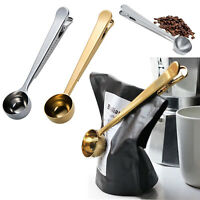 Stainless Steel Ground Coffee Measuring Spoon Scoop With Bag Sealing Clip 1 Cup