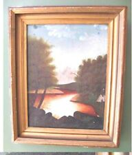 PRIMITIVE OIL/ Canvas,INDIAN CAMP,Lake,Woods,19th C.