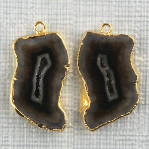 Real Brown Geode Slice Druzy Gold Plated Earring Pair Connectors