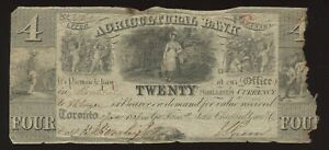 Agricultural Bank $4, 1836 - CH 20-12-02-12. Nice filler, with overprint B&C