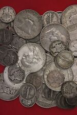 MAKE OFFER 2 Standard Ounces Ben Franklin Half Dollars Mercury Dimes Junk Silver