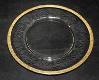 """Gold Encrusted, Rose, Etched Glass, Salad Plate, 8"""""""