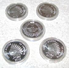 5--SILVERTOWNE MINT--ONE TROY OUNCE SILVER ROUNDS--2013--.999 SILVER