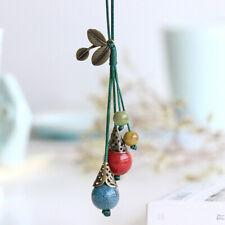 Long Sweater Green Nylon Chain Colourful Ceramic Beads Tassel Pendant Necklace