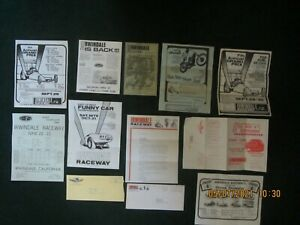 Drag Racing Memorabilia. Irwindale Raceway Brochures and Flyers. Lot of 12 items