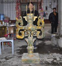 "57""Rare old China dynasty palace bronze Gilt bird beast Sanxingdui people statue"