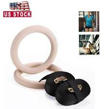 Wooden Gym Rings Adjustable Straps Fitness Exercise Rings Fully Body Training