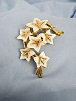 Trifari Goldtone White Enamel Floral Brooch Vintage