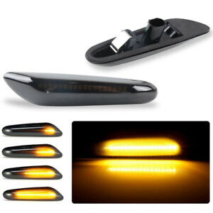 For BMW E60 E46 E90 E91 E92 E93 E82 E88 Smoke Dynamic LED Side Marker Light Pair