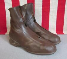 """Vintage 1930s Bf Goodrich Rain Ankle Boots Galoshes Black Rubber 9 1/4"""" Length"""