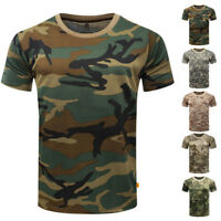Men's Camo T-Shirt Military Short Sleeve Army Camouflage Tactical T-shirt M~3XL
