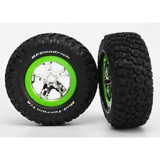 Traxxas TRA5865 Tire/Wheels Assembled Green Beadlock Front (2): 1/10 Slash 2wd