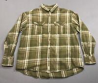 Men's Cabela's Green White Plaid Long Sleeve Button Front Up Shirt Sz XL