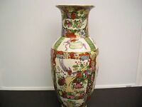 ORIENTAL HANDPAINTED CERAMIC PORCELAIN VASE 12 1/4 INCHES
