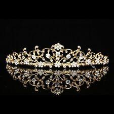 Gold Floral Bridal Crystal Rhinestone Prom Wedding Crown Tiara V710