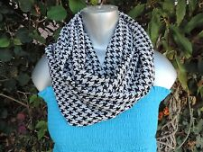 Black white Hounds tooth print circle loop infinity scarf  fashion unisex chiff