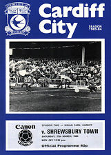 1983/84 Cardiff City v Shrewsbury Town, Division 2, PERFECT CONDITION