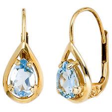 Boutons Tropfen 333 Gold Gelbgold 2 Blautopase hellblau blau Ohrringe Ohrhänger.