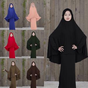 Muslim Kids Clothes Girls Prayer Burqa Full Cover Jilbab Abaya Kaftan Dress Sets